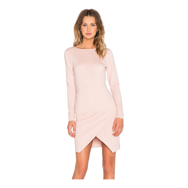 1. STATE Long Sleeve Ponte Wrap Front Bodycon Dress - Poly blend. Dry clean only. Unlined. Asymmetric hem. Hidden...