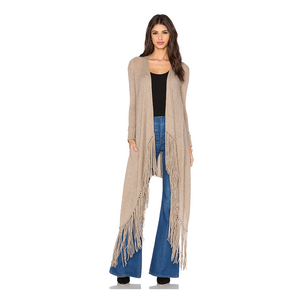 360SWEATER Waikiki fringe cardigan - 100% cashmere. Dry clean only. Open front. Side patch...