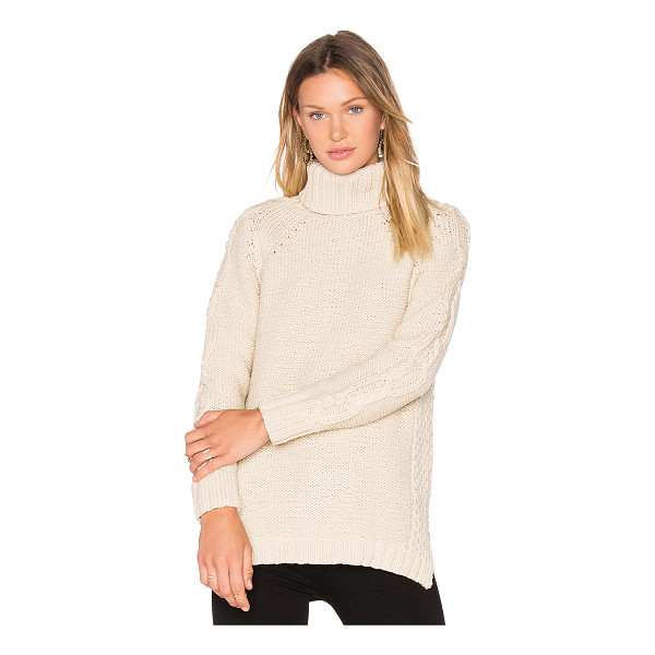 525 AMERICA Cable Knit Sweater - 100% cotton. Hand wash cold. Knit fabric. Side seam slits....