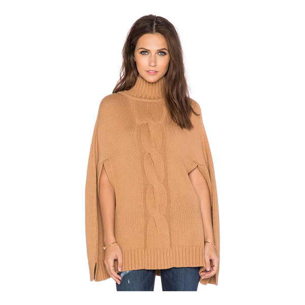 525 AMERICA Center cable mockneck poncho - Cotton/Wool blend. Dry clean only. 525A-WK41. W5712. 528...