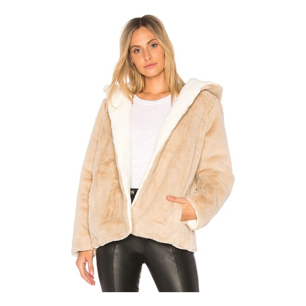525 AMERICA Vegan Fur Reversible Jacket - 100% poly. Dry clean only. Faux fur. Open front. Attached...