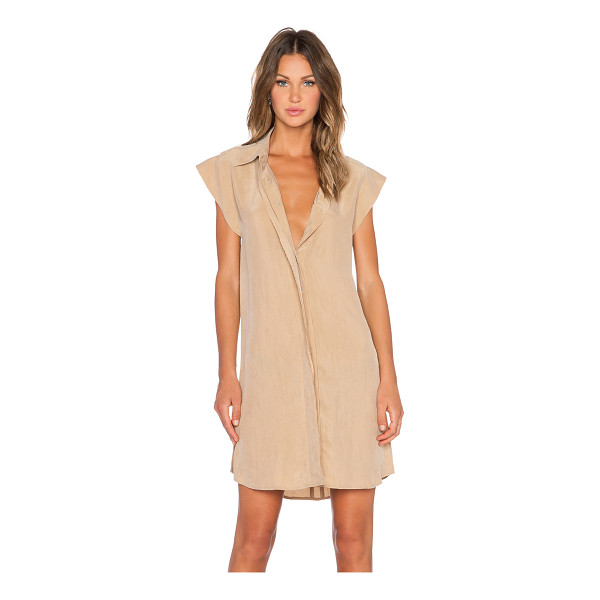 AGAIN Chestnut dress - Poly blend. Dry clean only. Unlined. Button front closure....