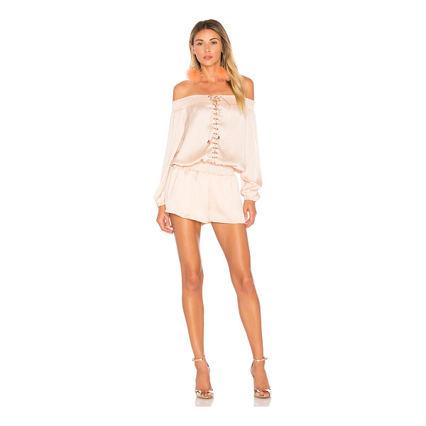 """AIRLIE Portia Off the Shoulder Playsuit - """"92.5% poly 7.5% spandex. Hand wash cold. Smocked elastic..."""