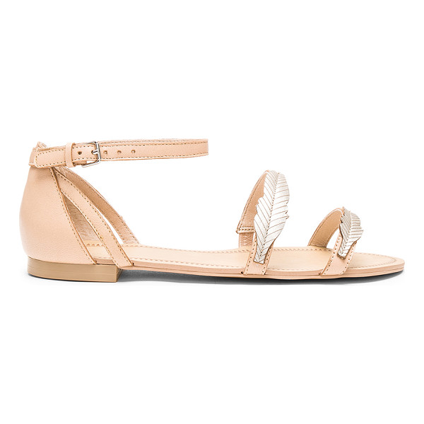 ALE BY ALESSANDRA Pressed Leather Feather Sandal - Leather upper with man made sole. Ankle strap with buckle...