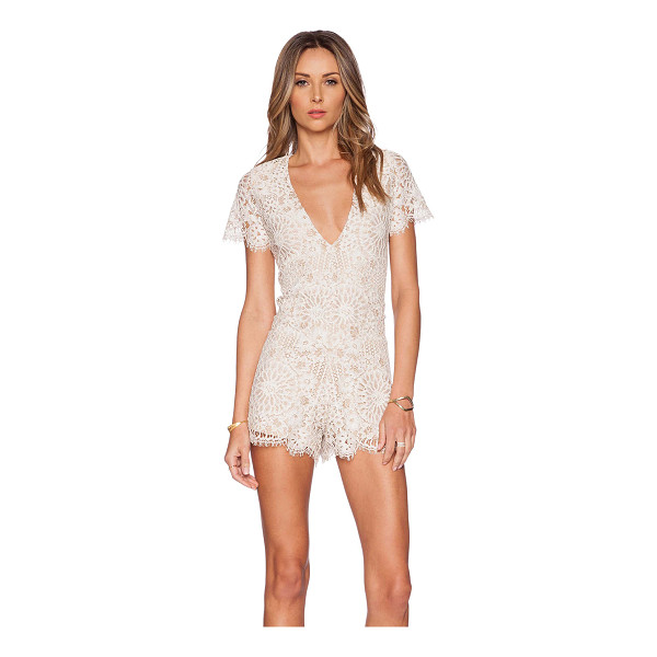 ALEXIS Alain lace romper - Nylon blend. Hand wash cold. Lace fabric with scalloped...