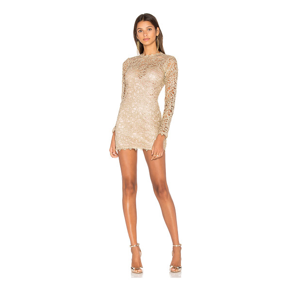 ALICE MCCALL Pablo Mini Dress - 100% poly. Dry clean only. Fully lined. Metallic allover...