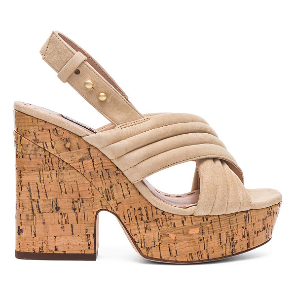 ALICE + OLIVIA Charlize Heel - Suede upper with leather sole. Ankle strap with notch...