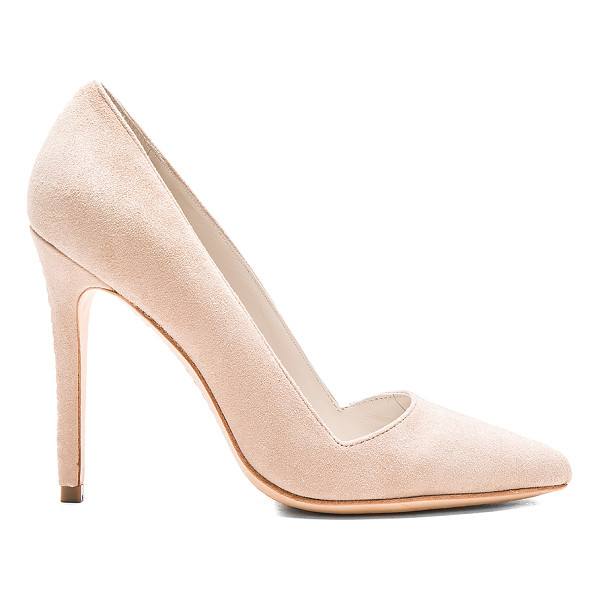 ALICE + OLIVIA Dina heel - Suede upper with leather sole. Back stitch detail. Heel...