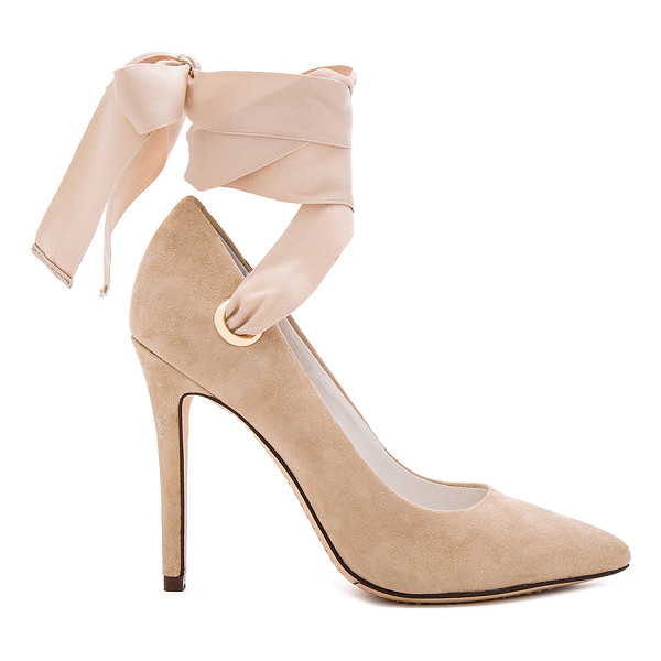 ALICE + OLIVIA Dominique Heel - Suede upper with leather sole. Ribbon wrap ankle with tie...