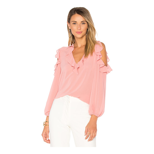 ALICE + OLIVIA Gia Blouse - 100% poly. Dry clean only. Ruffle trim. Shoulder cut-outs....