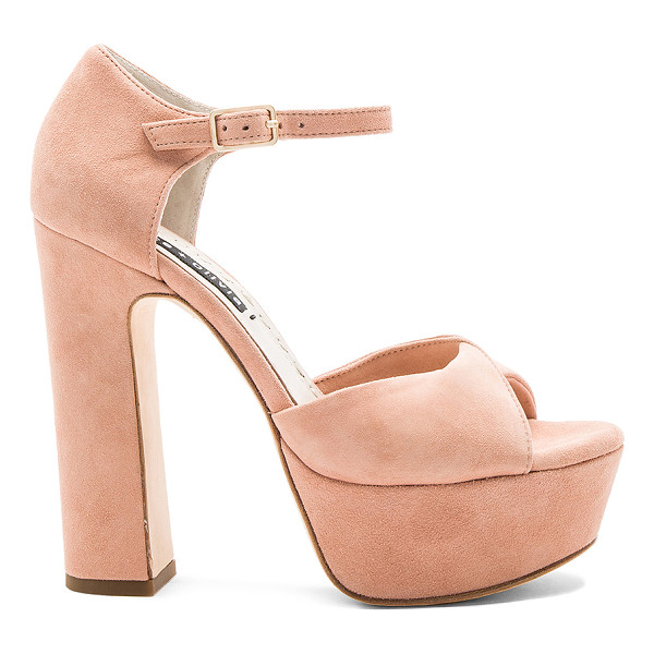 ALICE + OLIVIA Layla Platform - Suede upper with leather sole. Ankle strap with buckle