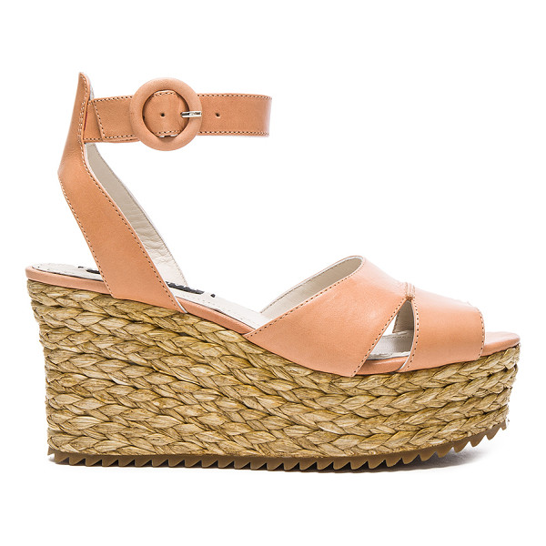 ALICE + OLIVIA Roberta Sandal - Leather upper with rubber sole. Ankle strap with buckle...