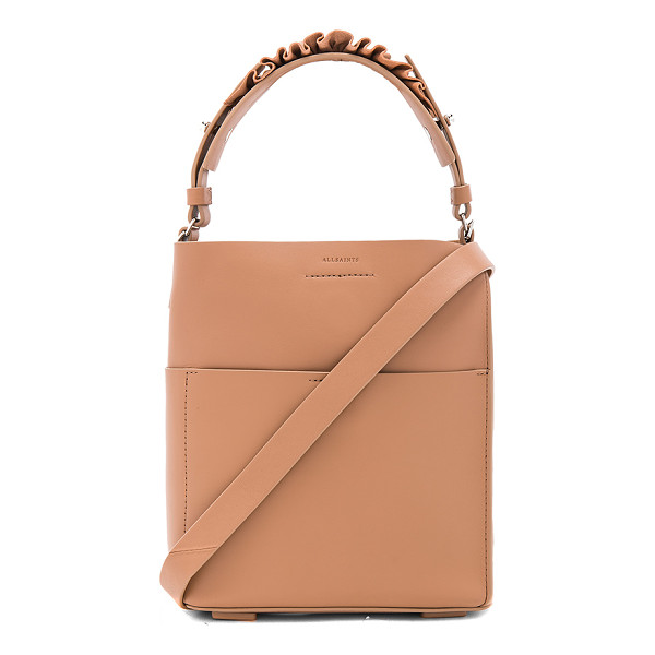 ALLSAINTS Maya Mini Tote - Leather exterior with raw leather lining. Magnetic top