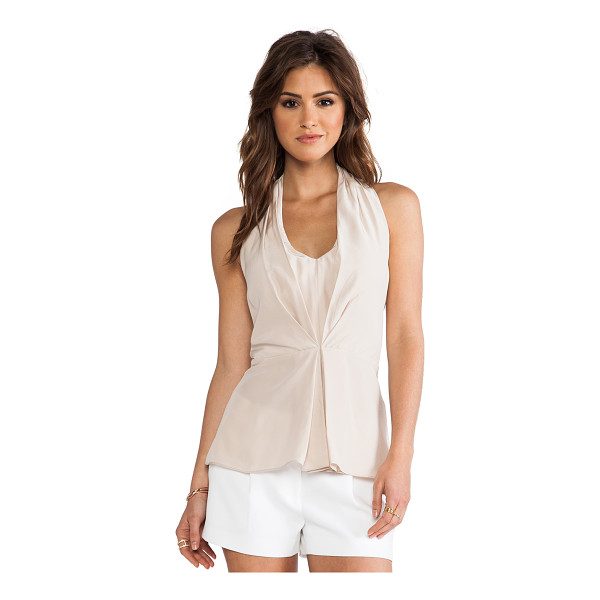 AMANDA UPRICHARD Pleated Halter Top - 100% silk. Dry clean only. Pleated front detail. Elastic...