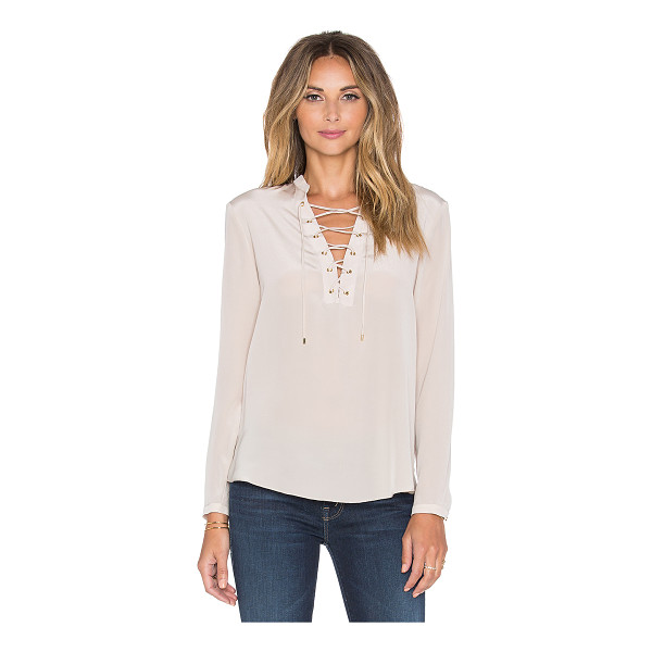AMANDA UPRICHARD Winslow top - 100% silk. Dry clean only. Lace-up front. Buttoned sleeves....