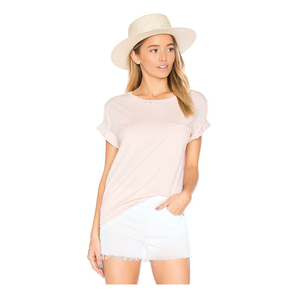 AMO Tomboy Destroyed Pocket Tee - Cotton blend. Chest pocket. Destroyed detail. AMOR-WS10....