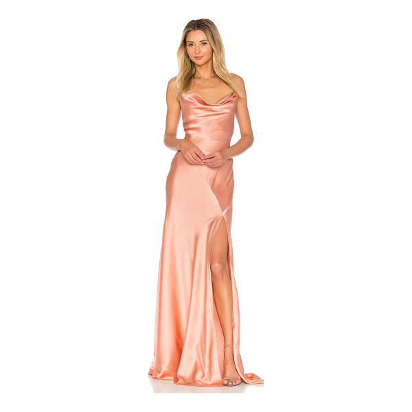 AMUR Karlie Gown - Silk blend. Dry clean only. Partially lined. Crisscross...