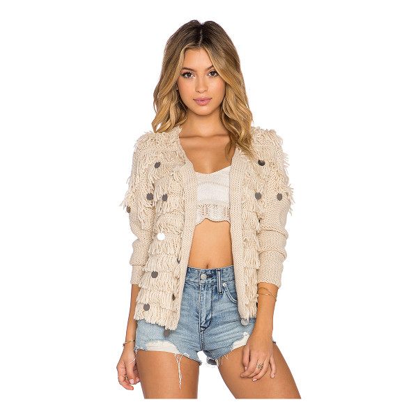 AMUSE SOCIETY Sunday cardigan - 100% acrylic. Dry clean only. Open front. Fringe trim with...