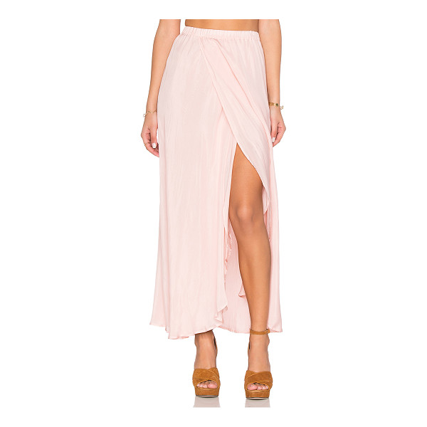 AUGUSTE Hippy Wrap Skirt - Silk blend. Dry clean only. Fully lined. Elastic waist....