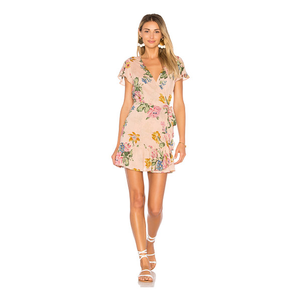 AUGUSTE x REVOLVE Havana Nights Frill Wrap Mini Dress - Rayon blend. Hand wash cold. Unlined. Wrap front with tie...