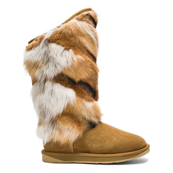 AUSTRALIA LUXE COLLECTIVE Mongol Fox Fur Boot - Natural fox fur and suede upper with EVA rubber sole. Fur...
