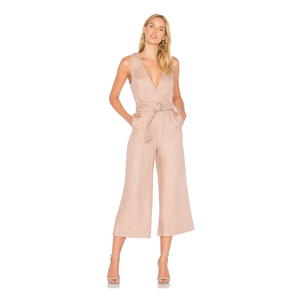 "AVEC LES FILLES Belted Jumpsuit - ""57% linen 43% cotton. Crossover back with snap button..."