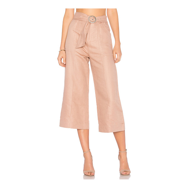 """AVEC LES FILLES Cropped Tie Waist Pant - """"57% linen 43% cotton. Zip fly with hook and bar closure...."""