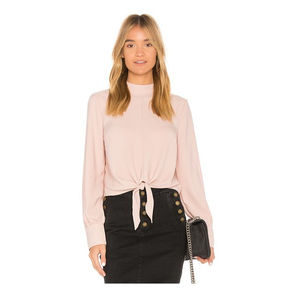 AVEC LES FILLES Tie Front Top - 100% poly. Front tie detail. Buttoned sleeves. Back keyhole...