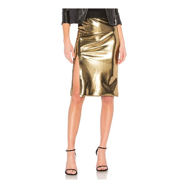 "BAJA EAST Slit Skirt - ""Go for gold this holiday season with the Baja East Slit..."