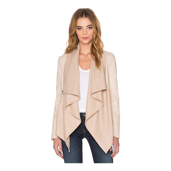 BARDOT Waterfall PU Jacket - Self: 55% wool 40% poly 5% viscoseCombo: 100%...