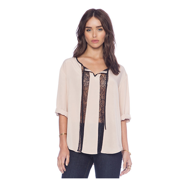 BB DAKOTA Rach lace insert top - Poly blend. Neckline tie detail. Lace accent. Roll tabbed...