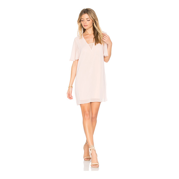 BCBGENERATION Deep V Dress - Self & Lining: 100% poly. Fully lined. Lace inset detail....