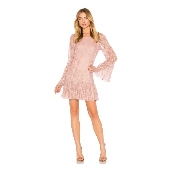 BCBGENERATION Double Tiered Dress In Rose Smoke - Self & Lining: 100% poly. Fully lined. Pleated lace fabric....