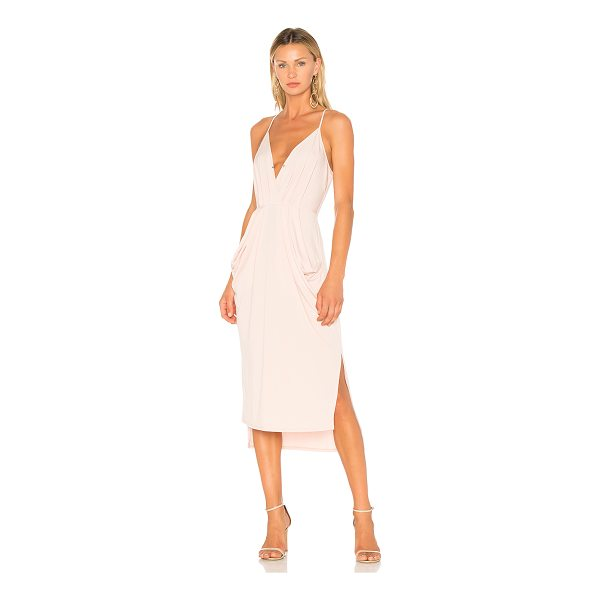 BCBGENERATION Midi Faux Wrap Dress In Rose Smoke - Self: 96% poly 4% spandexLining: 100% poly. Unlined....