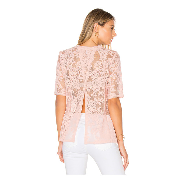 BCBGENERATION Open Back Tee - 100% poly. Semi-sheer lace fabric. Split back. BGEN-WS365....