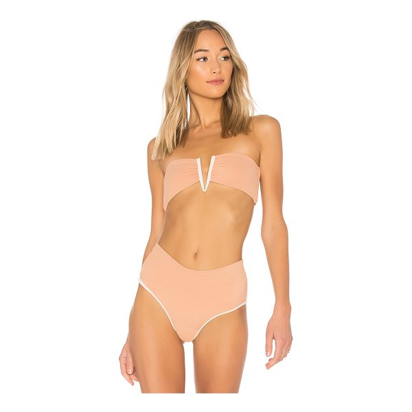 BETTINIS Deep V Bandeau Top - 83% nylon 17% spandex. V-wired front. Back tie closure....
