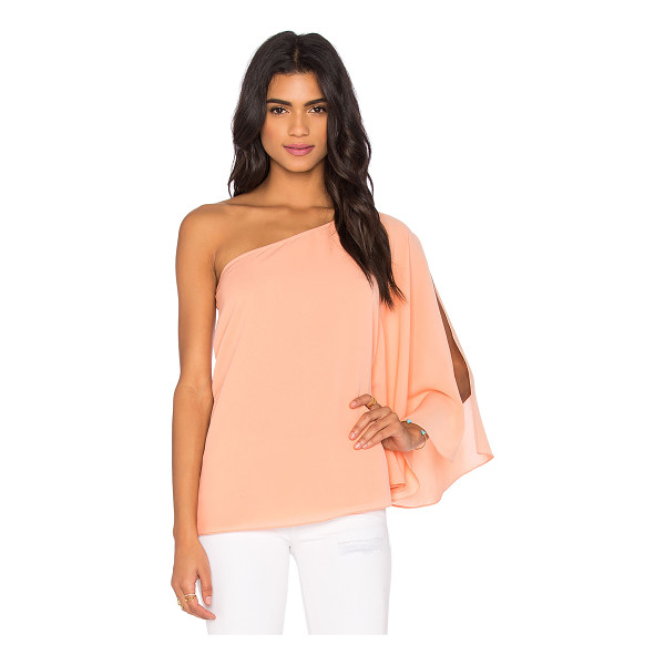 BLAQUE LABEL One Shoulder Winged Top - 97% poly 3% spandex. Dry clean only. Side slit detail at...