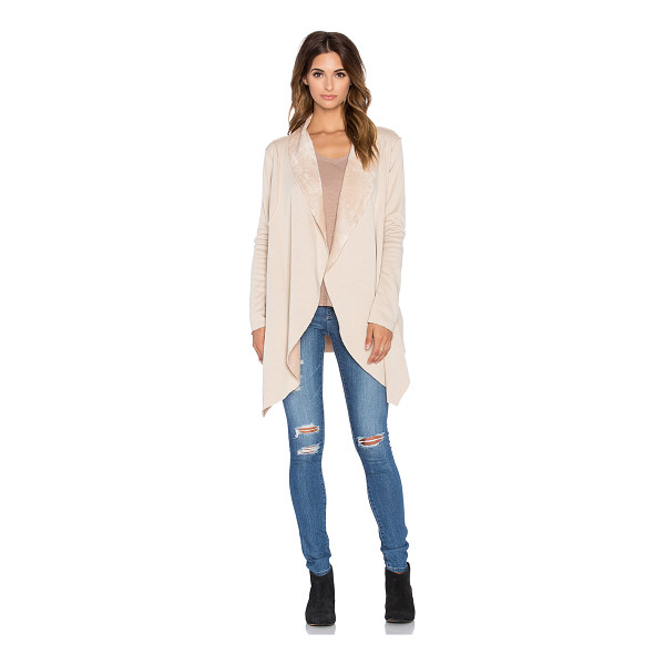 BOBI Bonded fur cardigan - 55% poly 45% acrylic. Hand wash cold. Open front....