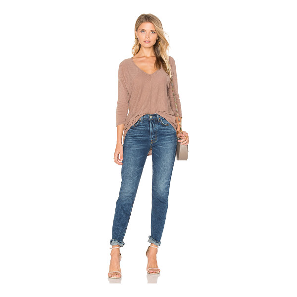 BOBI Cotton Slub V-Neck Dolman Long Sleeve Tee - 100% cotton. Slub knit fabric. Asymmetrical hem....