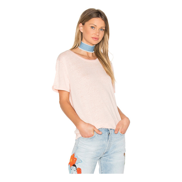 BOBI Linen Jersey Crew Neck Tee - 80% linen 20% poly. Hand wash cold. Marled knit fabric....