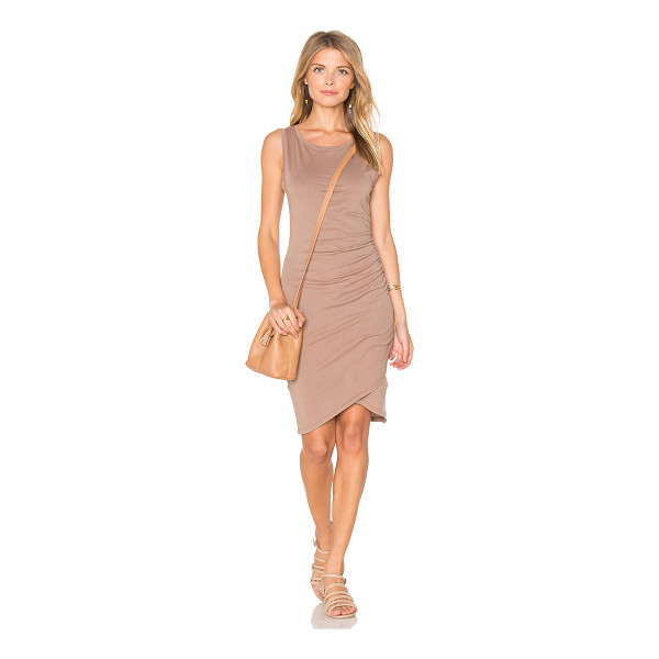 BOBI Supreme Jersey Ruched Bodycon Dress - 100% cotton. Unlined. Side ruched detail. BOBI-WD1128. B