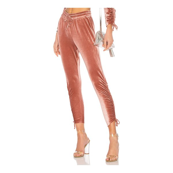 BY THE WAY. Behati Ruched Velour Jogger - 95% poly 5% spandex. Hand wash cold. Elasticized drawstring...