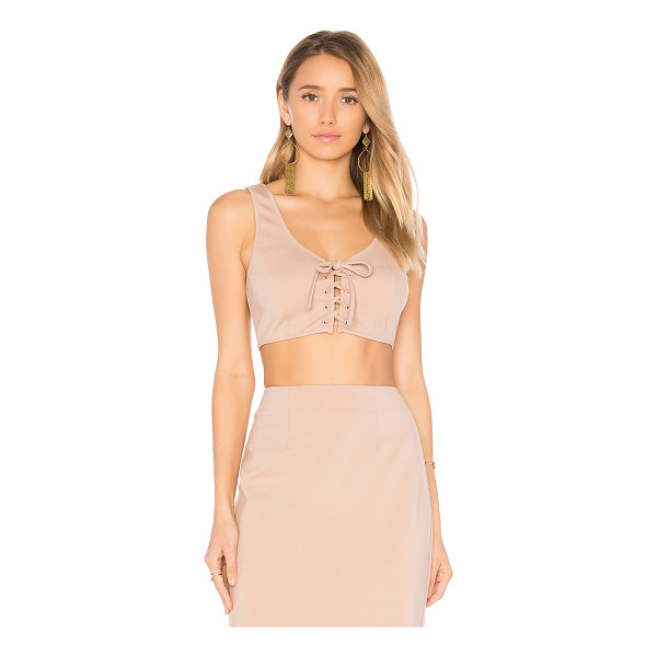 BY THE WAY. Gina Crop Top - 60% rayon 35% nylon 5% spandex. Hand wash cold. Lace-up...