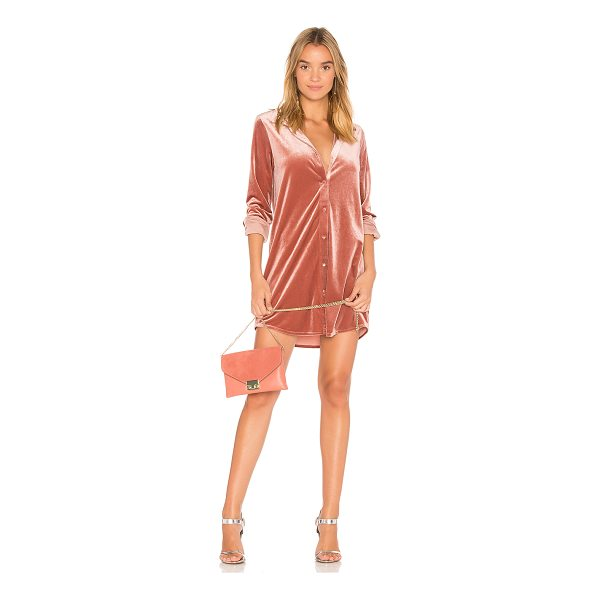 BY THE WAY. Vella Velvet Mini Dress - 95% poly 5% spandex. Dry clean. Unlined. Front button...