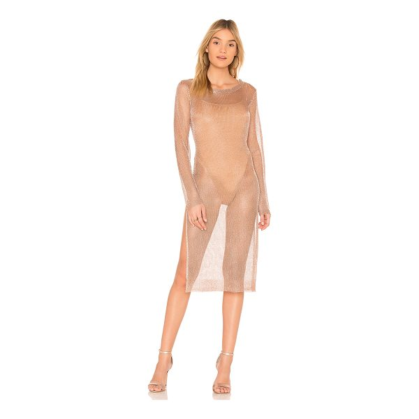 BY THE WAY. Violet Double Slit Metallic Dress - 100% poly. Dry clean only. Unlined. Metallic mesh fabric....