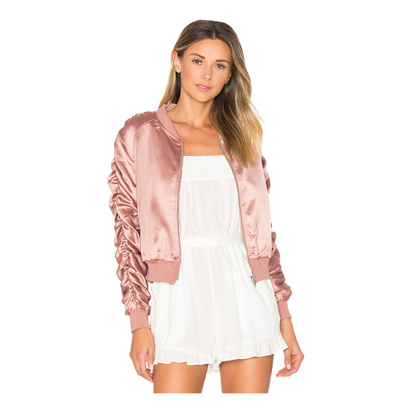 BY THE WAY. Zana Ruched Bomber - Self & Lining: 100% poly. Hand wash cold. Zip front...