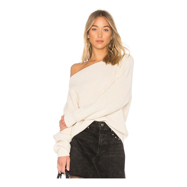 CALLAHAN Shaker Knit Off Shoulder Sweater - 100% cotton. Dry clean only. Rib knit edges. CAHN-WK39....