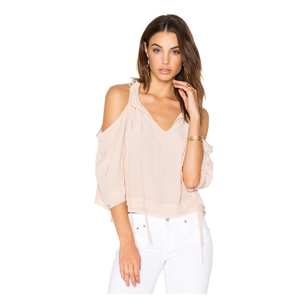 CALVIN RUCKER Amazed Top - 100% Japanese poly. Drawstring neckline. Shoulder cut-outs....