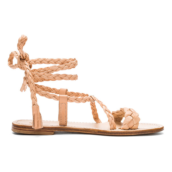 CAPRI POSITANO Faito Sandal - Braided leather upper with leather sole. Lace-up front with