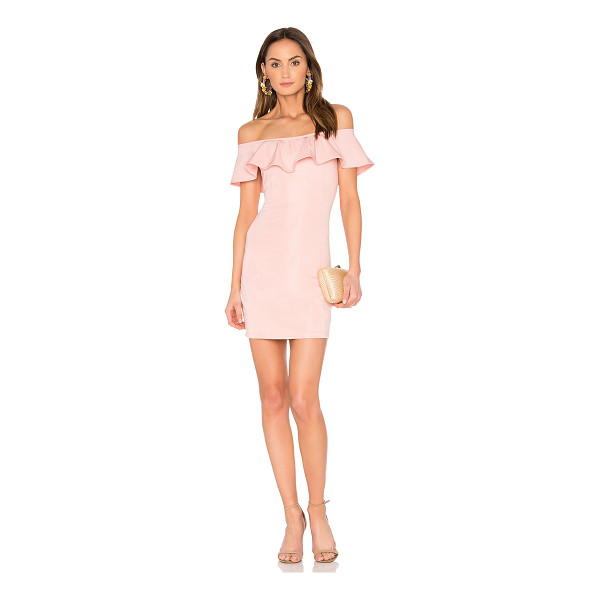 "CAPULET x REVOLVE Eva Off the Shoulder Mini Dress in - ""95% rayon 5% spandex. Dry clean only. Unlined. Elasticized..."